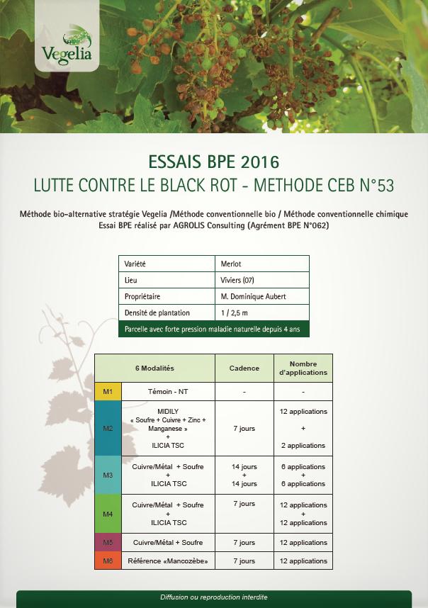 resultats essais bpe 2016 lutte contre le black rot de la vigne methode bio ceb 53 vegelia